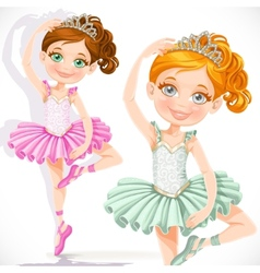 Cute little ballerina girl in pink and green tutu vector