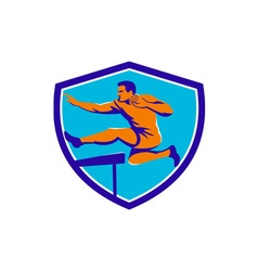 Track and field athlete jumping hurdle vector