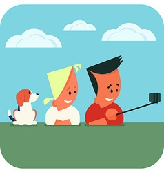 Couple taking selfie using selfie stick vector