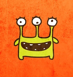 Three eyed alien cartoon vector