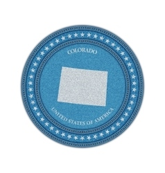 Label with map of colorado denim style vector