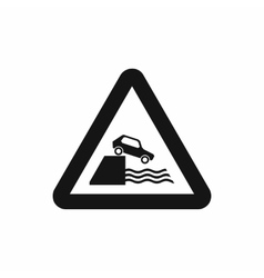 Riverbank traffic sign icon simple style vector