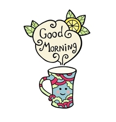 Card with smiley cup of tea and text good morning vector