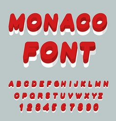 Monaco font monaco flag on letters national vector