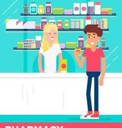 Pharmacy boy girl vector
