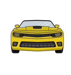Auto yellow car in a flat style vector