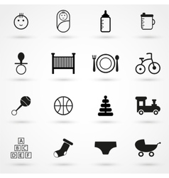 baby icons set black on white background vector image vector image