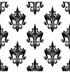 Black and white seamless fleur-de-lis pattern vector