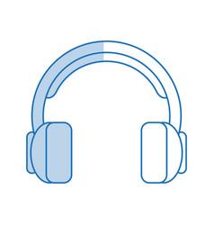 Blue shading silhouette cartoon headphones with vector