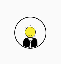 Business man logo with idea light bulb head vector