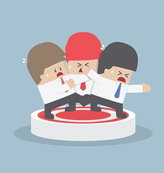 Businessmen fighting for standing on the target vector image vector image