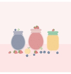 Card with glass jars of jam vector image
