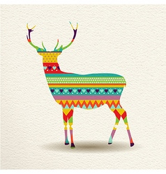 Christmas reindeer art design in fun colors vector