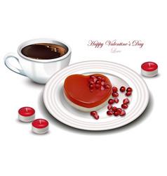 coffee and heart shape dessert realistic vector image