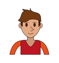 Colorful image cartoon front view half body man vector