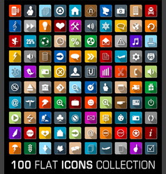 Colorful Set of 100 universal flat modern icons vector image vector image