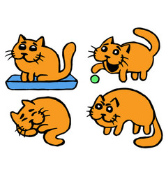 cute orange cats emoticons set isolated vector image