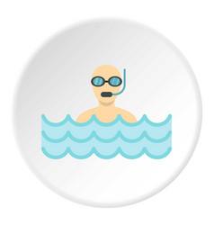 Diver with scuba icon circle vector