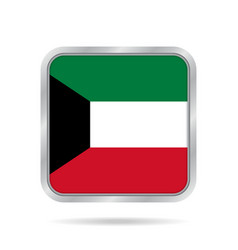 flag of kuwait shiny metallic gray square button vector image vector image