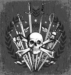 Grunge skull and swords vector