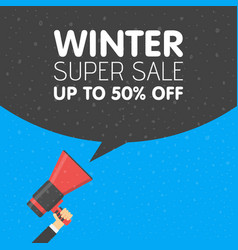 hand holding megaphone with winter sale vector image