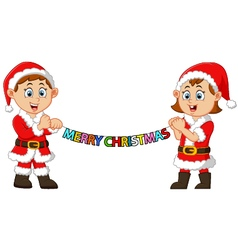 Happy kid holding christmas banner vector