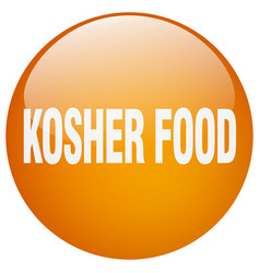 Kosher food orange round gel isolated push button vector