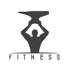 Man of fitness silhouette character with anvil vector