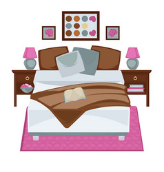 messy bedroom with opened book vector image