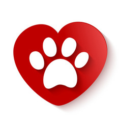 paw print over heart shape vector image