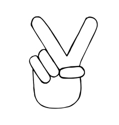 pencil sketch of hand with victory sign vector image