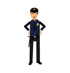 police officer character in a blue uniform at work vector image