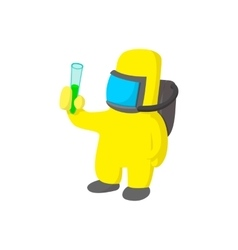 Scientist in protective suit cartoon icon vector