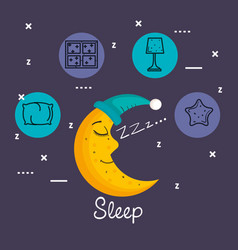 Sleeping moon in nightcap isolated on blue vector