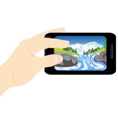Telephone in hand vector
