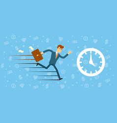 Time management concept with running man vector
