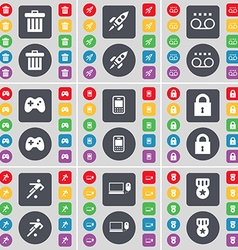 Trash can Rocket Cassette Gamepad Mobile phone vector image vector image