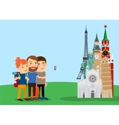 Traveling family make selfie near landmarks vector image