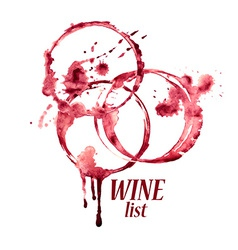 Watercolor emblem with wine stains vector