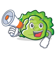 With megaphone lettuce character cartoon style vector