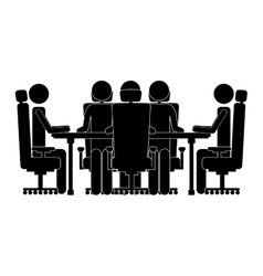 Monochrome silhouette with executives in boardroom vector