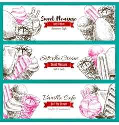 Banner of dessert food sketch with ice cream vector