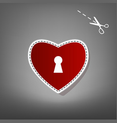 Heart with lock sign  red icon with for vector