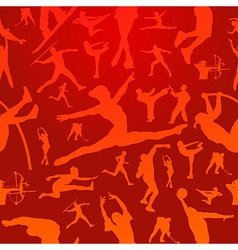 Sports silhouettes red pattern vector