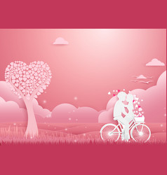 Paper art couple on bicycle concept romantic love vector