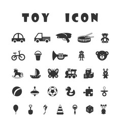 Black toy icons isolated on white background vector