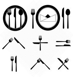 Plate icons with fork and knife sign vector