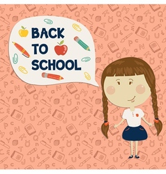 Little girl holding say back to school vector