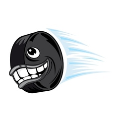 Flying smiling hockey puck vector