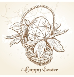 Easter card with a basket and eggs vintage vector